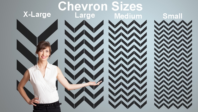 Pre spaced Chevron design on an easy to apply wallpaper style sheet 750x423