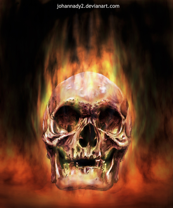 red flaming skull by johannady2 600x722