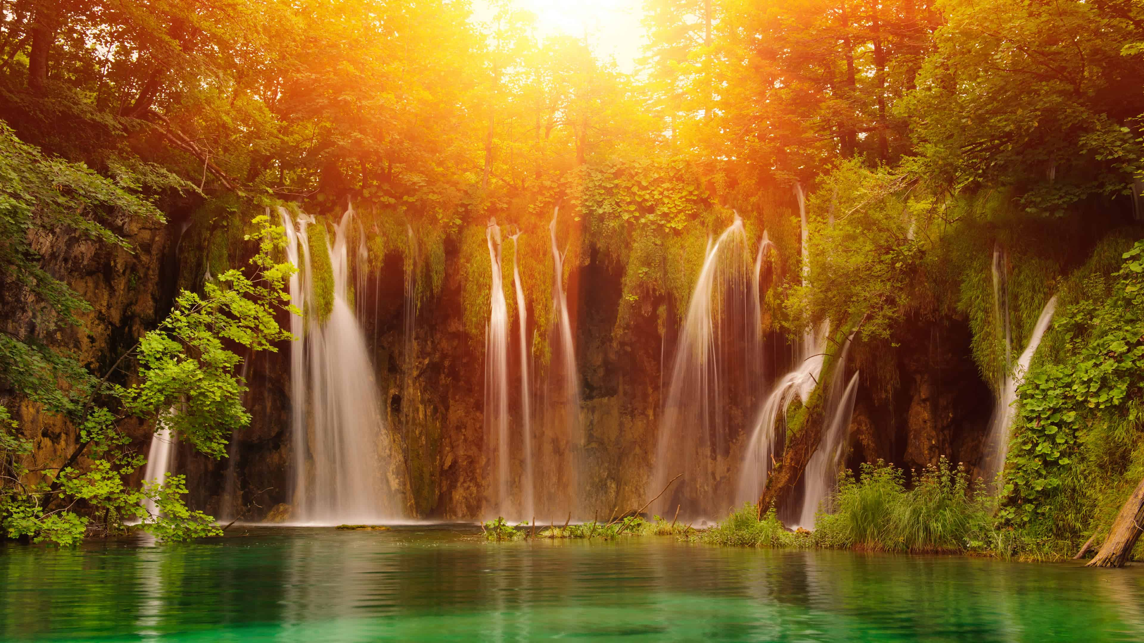 Waterfall Plitvice Lakes National Park Croatia UHD 4K Wallpaper 3840x2160