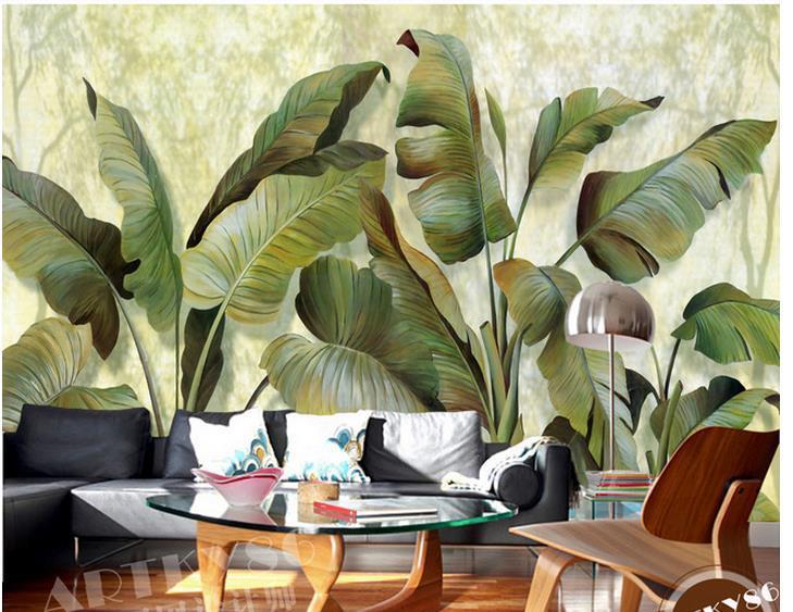 com Buy Custom photo wallpaper 3D European Banana leaf banana leaf 729x563