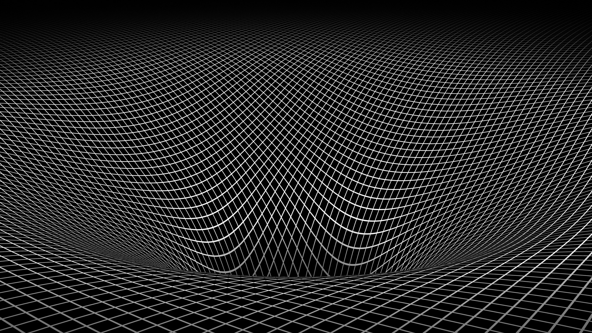 Abstract black and white gravity hole 3d warped wallpaper 1920x1080