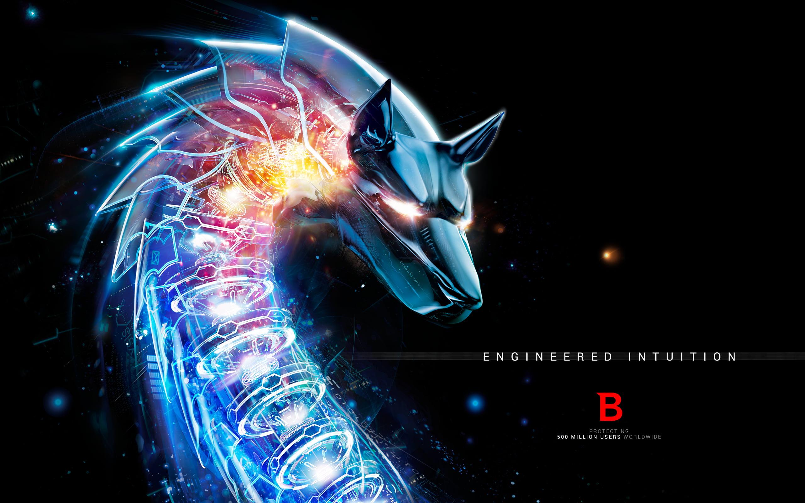 Blue cyber wolf HD wallpaper bitdefender logo HD wallpaper 2560x1600