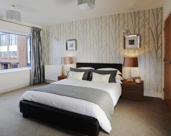earthy modern modernish simple beige black grey silver white bedroom 656x523