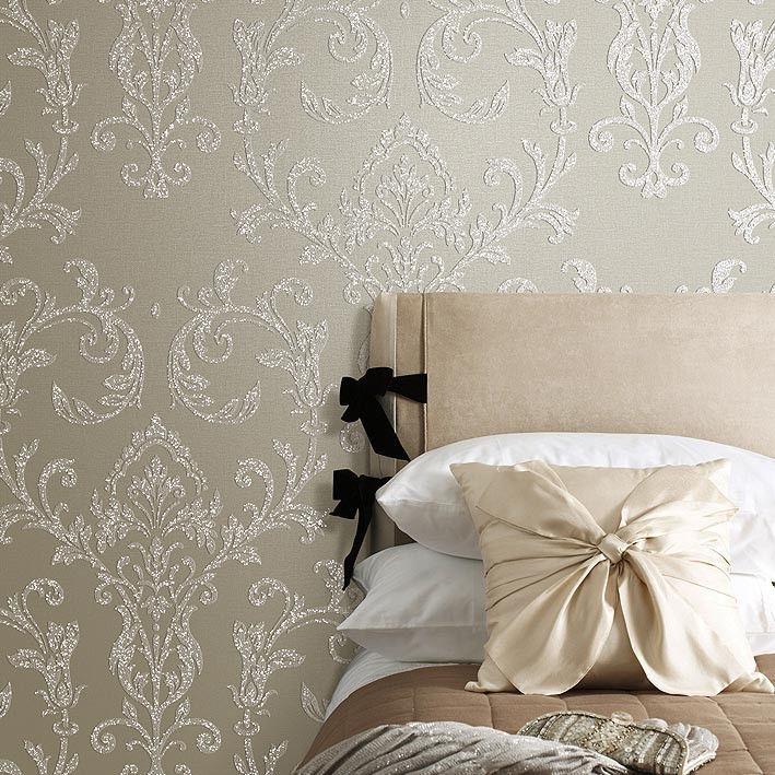 Beige Damask Embossed Shining Sand PVC Wallpaper Sample Available 709x709