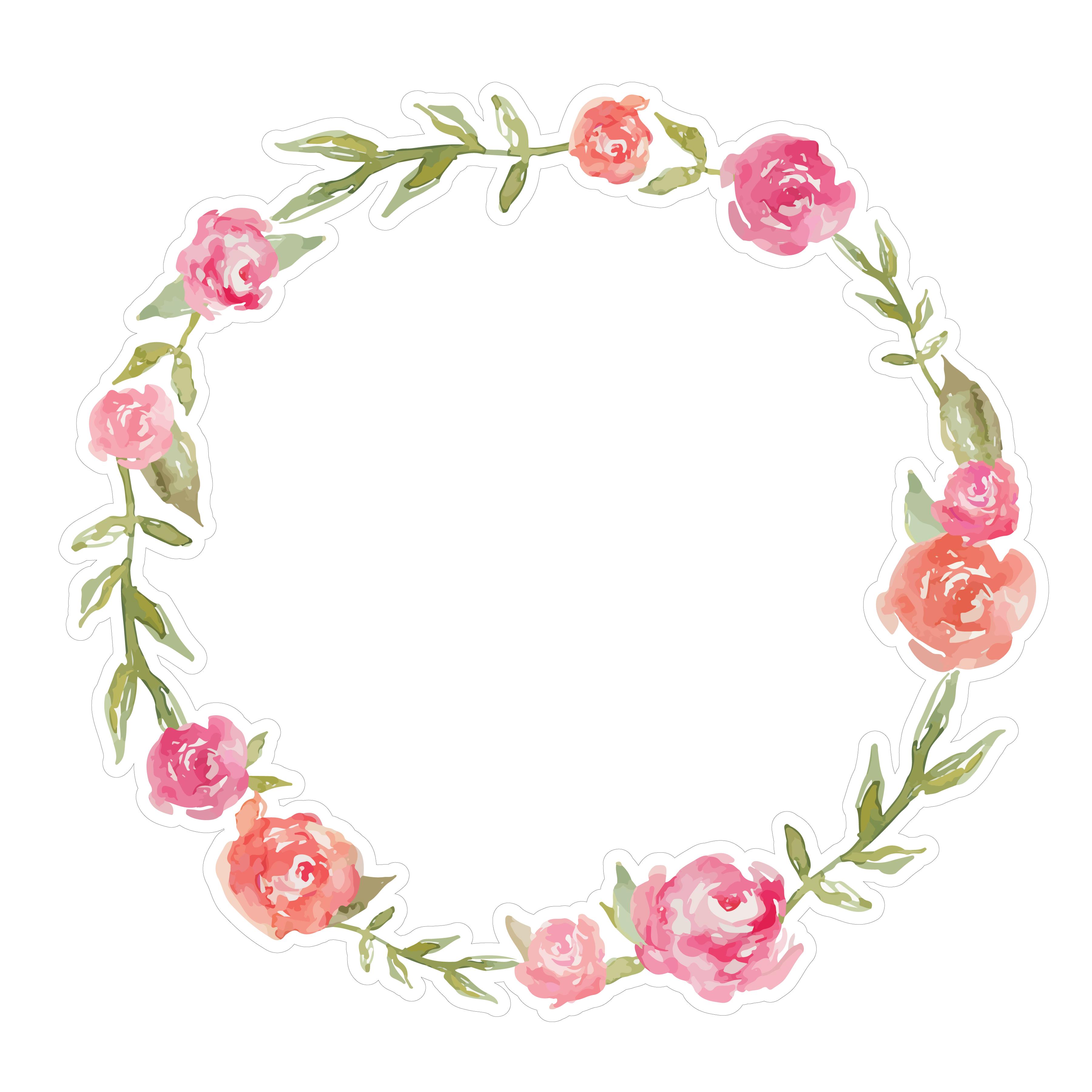 Watercolor Rose Wreath SVG File Cute Watercolor Rose Wreath 3600x3600
