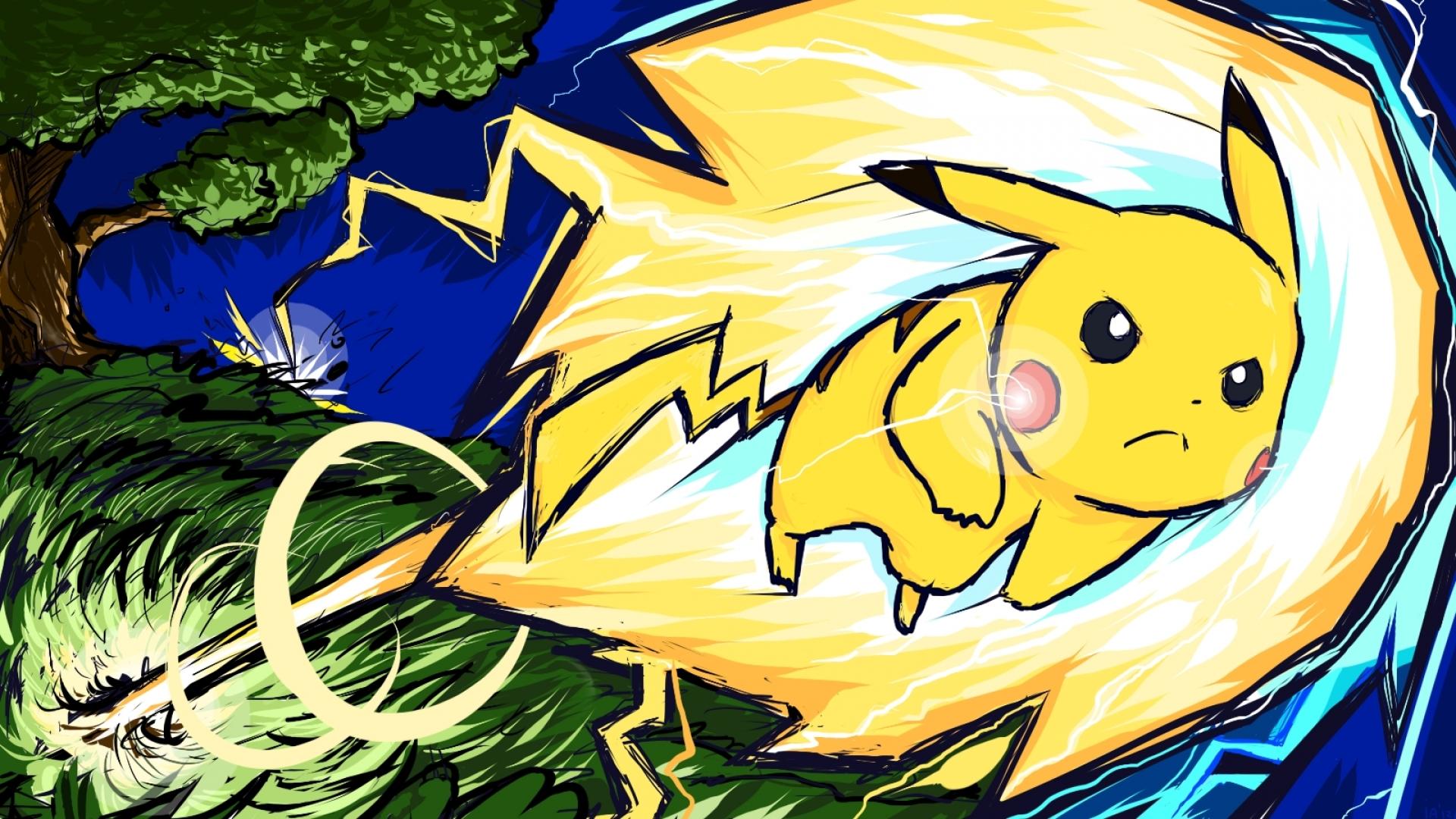 pikachu storm lightning pokemon blue pokemon red 1600x900 wallpaper 1920x1080