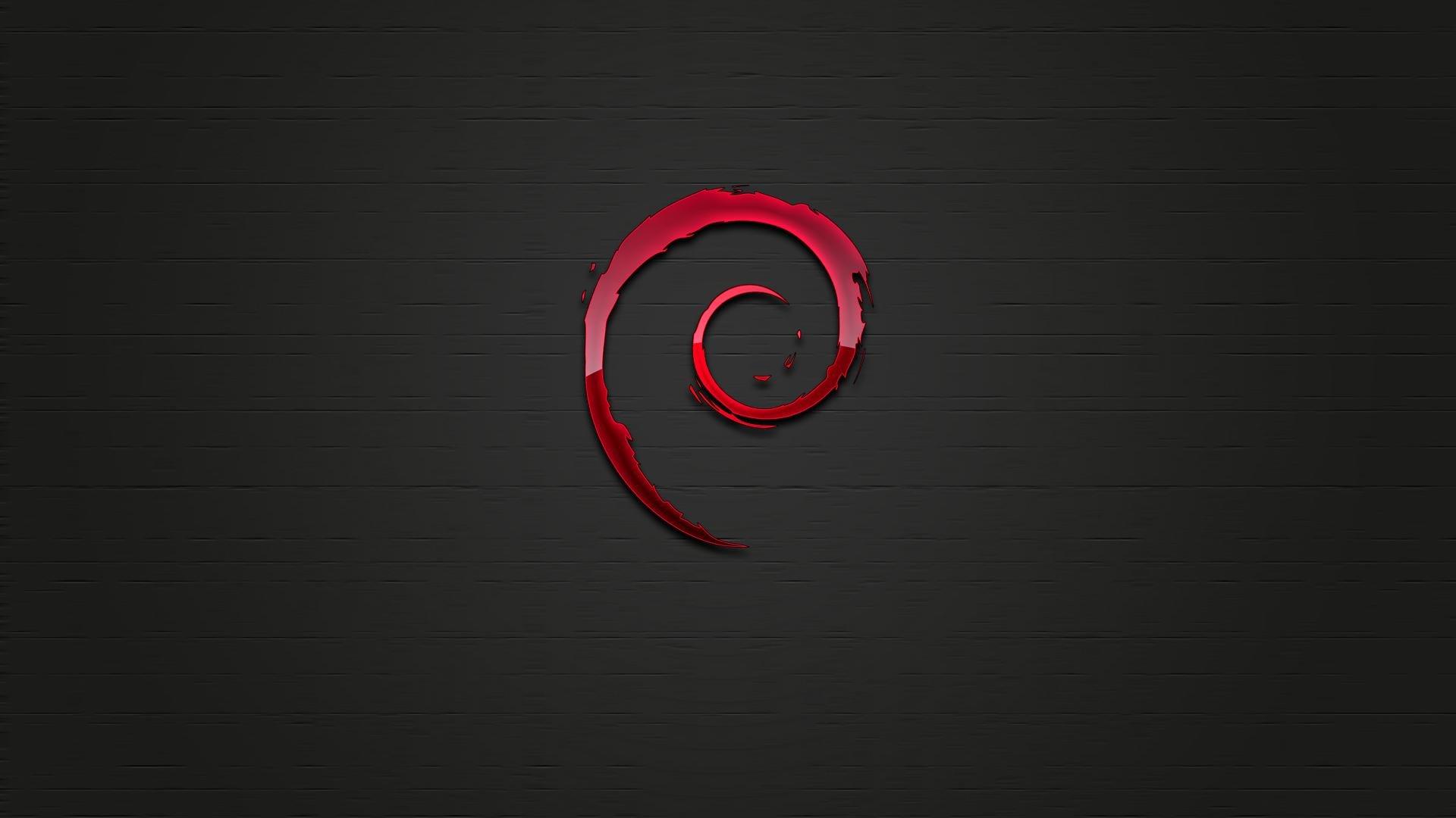 Linux Debian logo with Dark Background Wallpaper   Wallpaper Stream 1920x1080