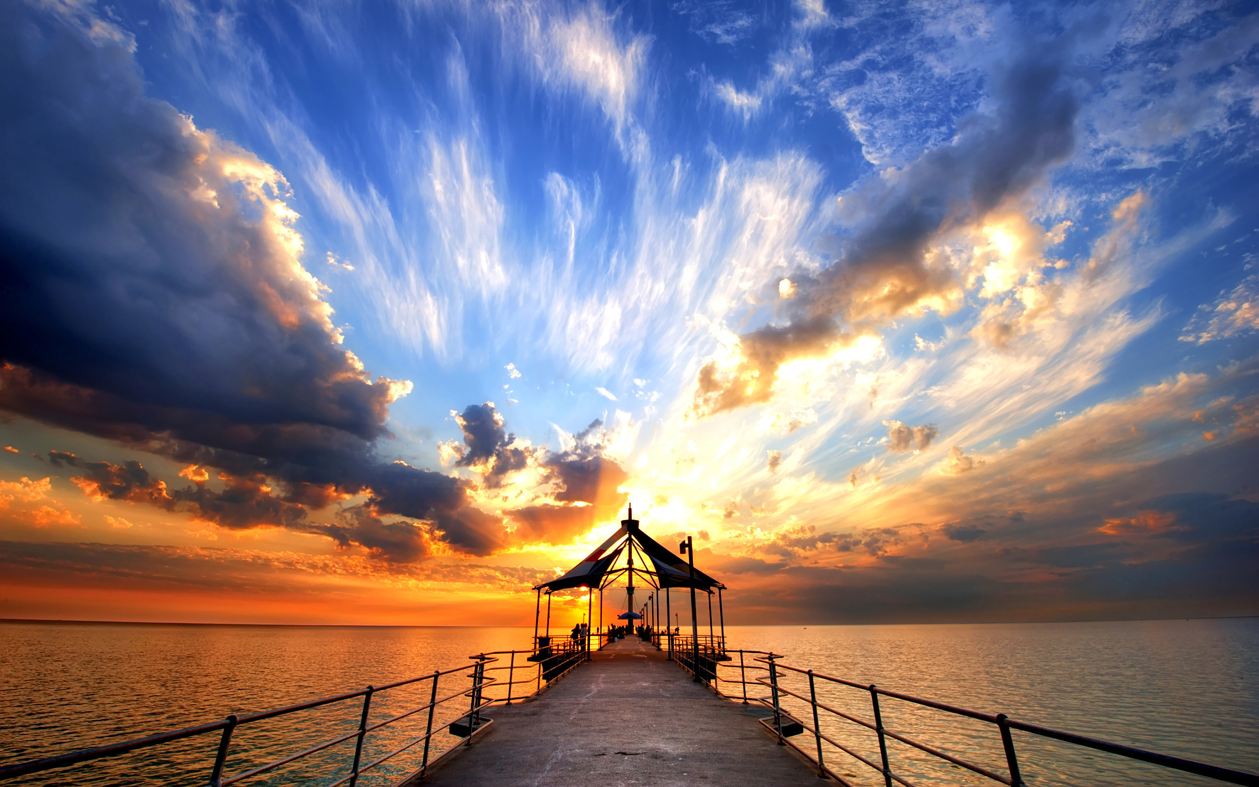 Pier At Dusk Sunrise HD Wallpaper 2560x1600