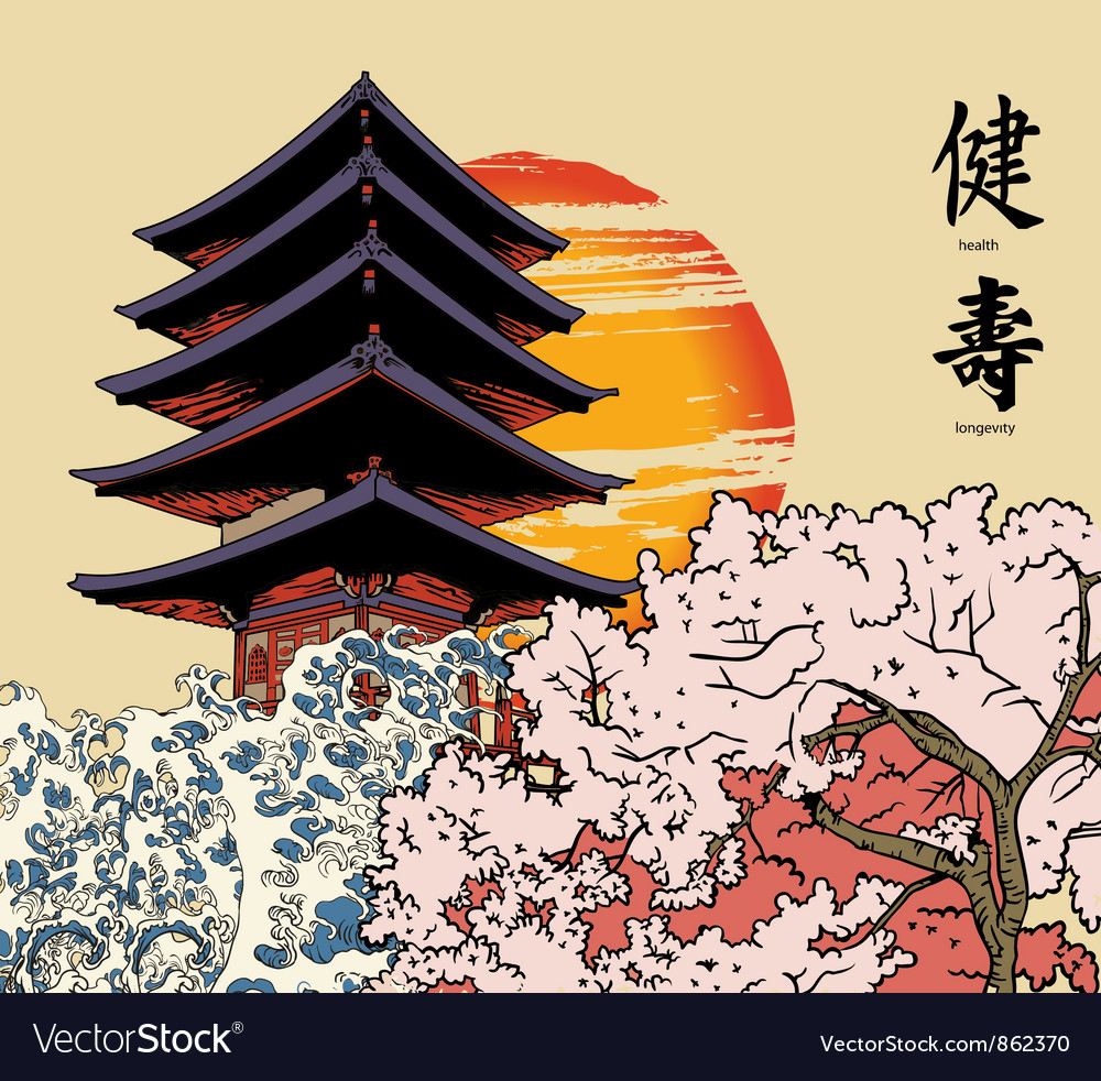 Japanese background Royalty Vector Image   VectorStock 1000x982