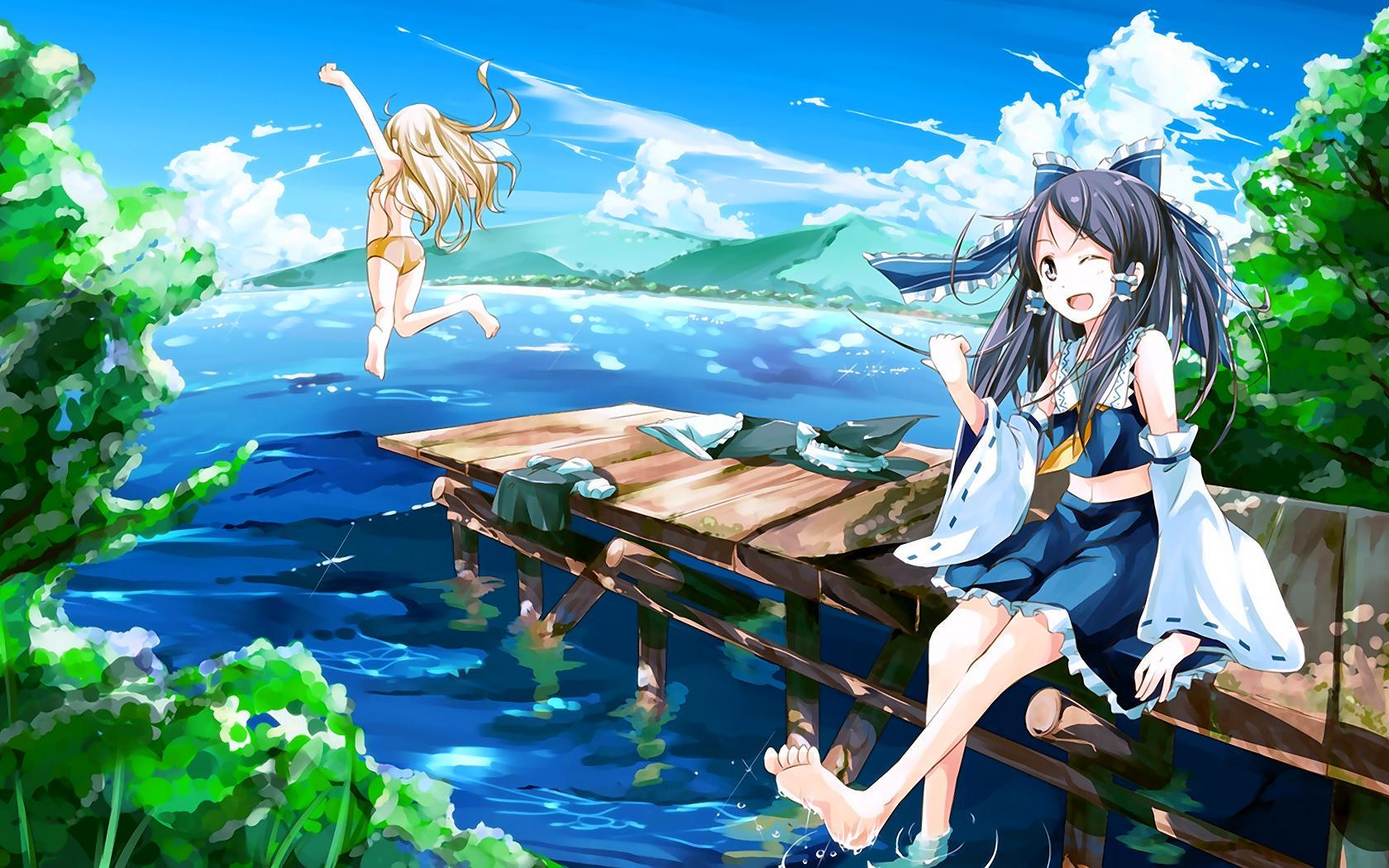 In summer hd wallpaper download cartoon wallpaper html code - Free Download Anime Summer Fun Girls In Bikini Wallpaper In High