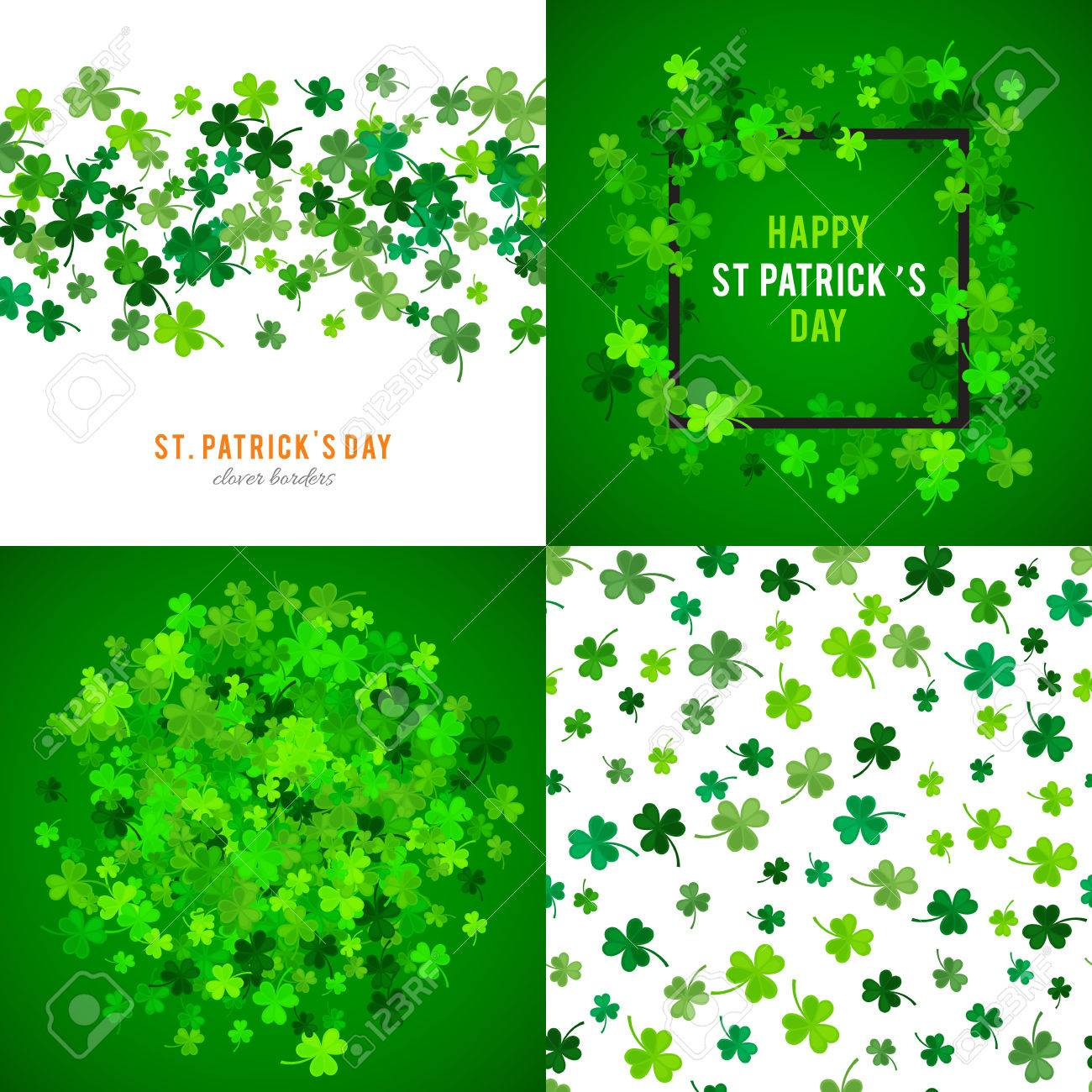 Set Of St Patricks Day Backgrounds Vector Illustration For Lucky 1300x1300
