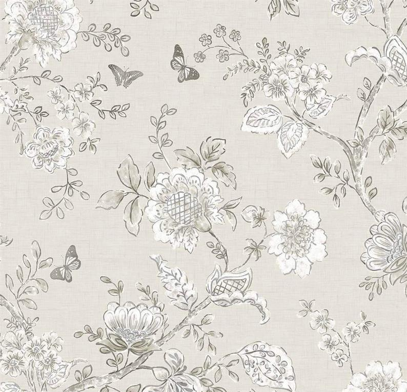 Wallpaper Gray Floral Toile Farmhouse Cottage Style Etsy 794x765