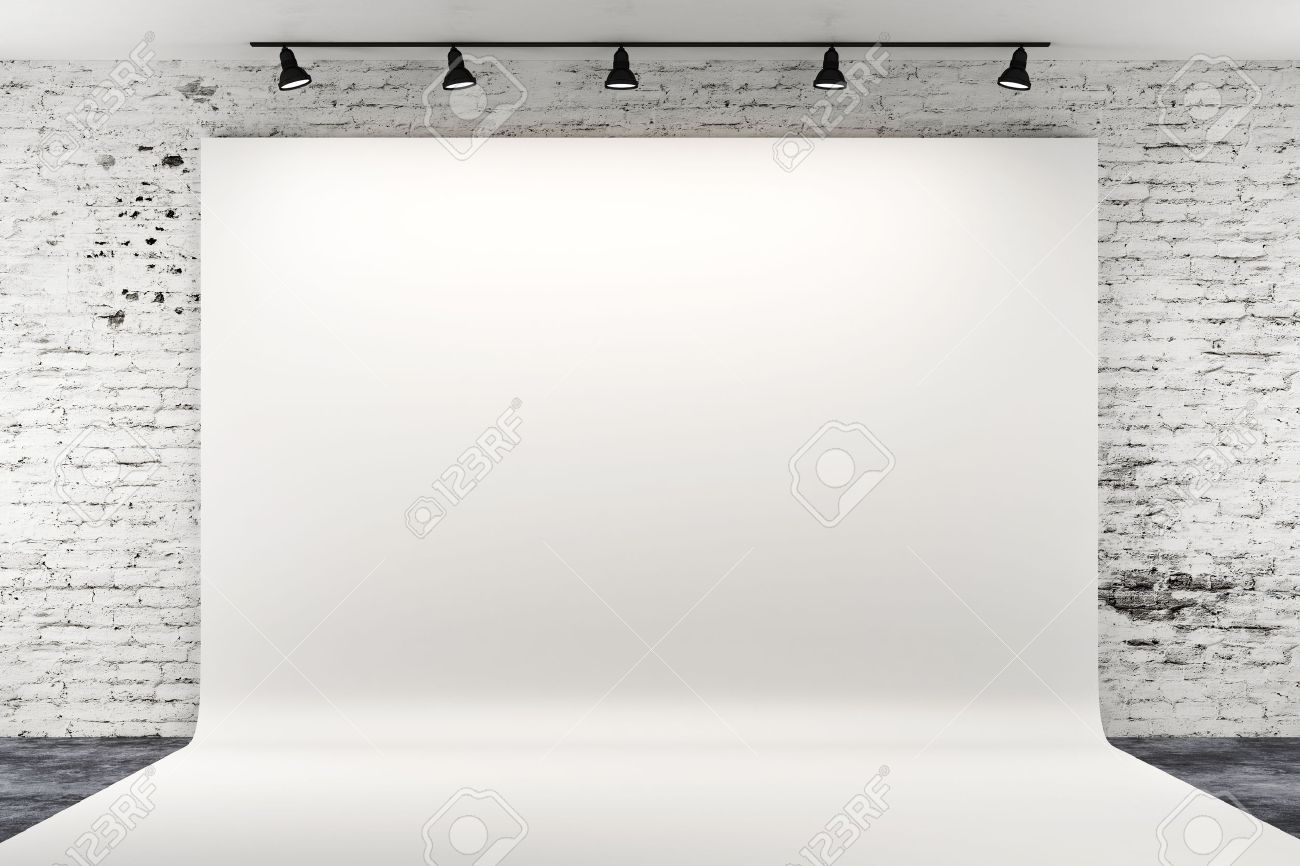 3d Studio Setup With Lights And White Background Stock Photo 1300x866