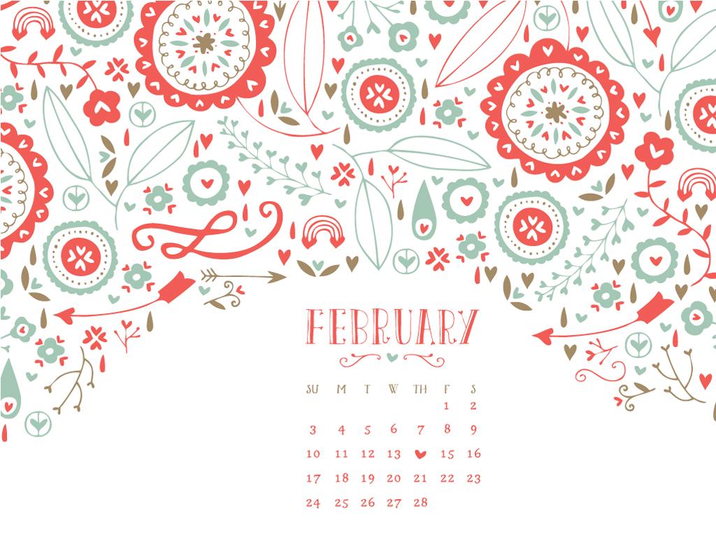 February Desktop Calendar Favs 1024x768