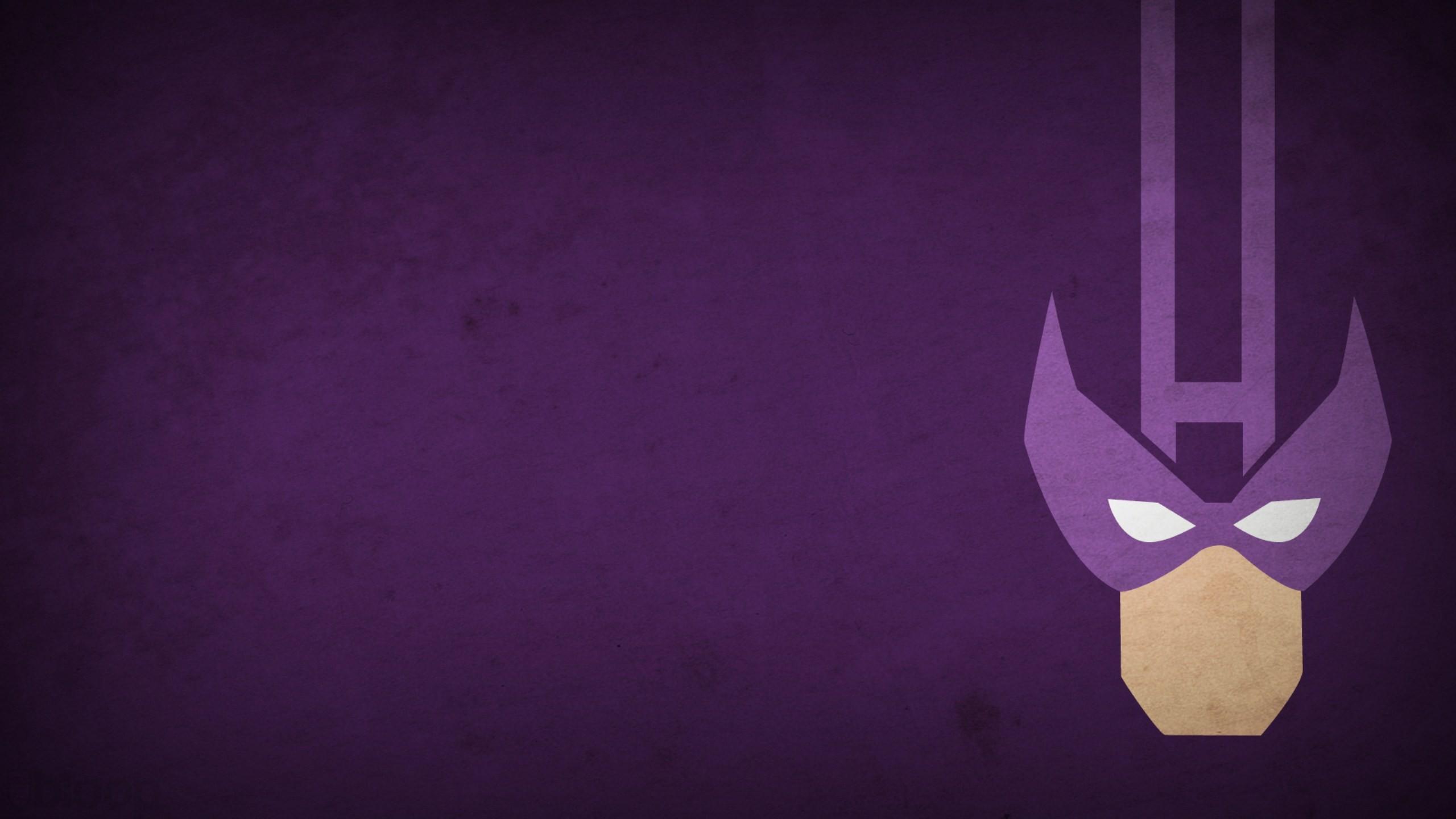 Minimalistic Marvel Comics Hawkeye purple background blo0p 2560x1440
