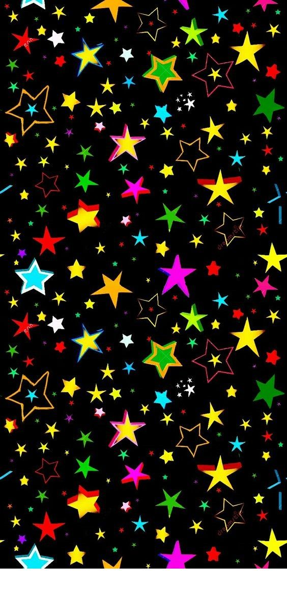 Colorful Stars wallpaper Vintage flowers wallpaper Star 564x1160