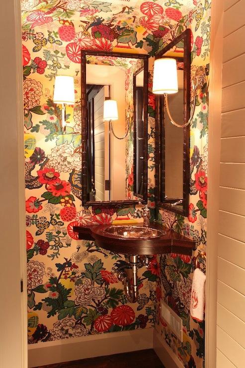 Chiang Mai Dragon Wallpaper   Eclectic   bathroom   Liz Caan Interiors 493x740