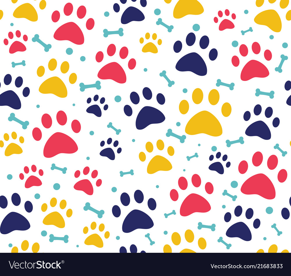 Cat or dog paw seamless patterns backgrounds Vector Image 1000x951
