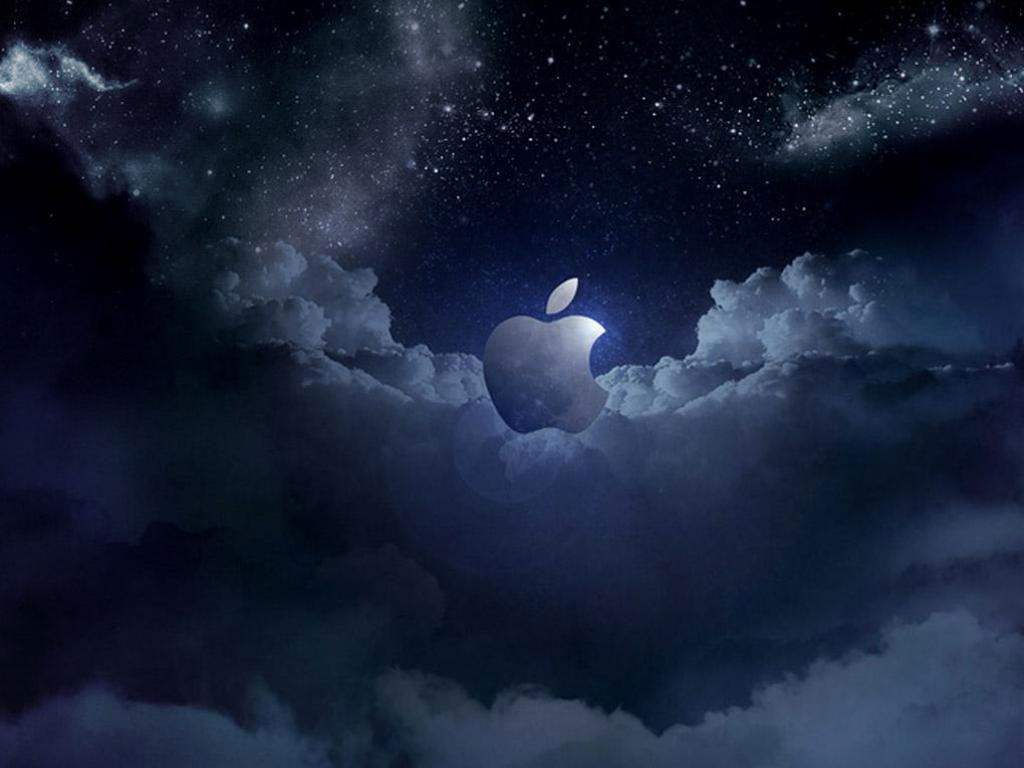 Cloudy Apple logo wallpaper background Logo wallpapers 1024x768