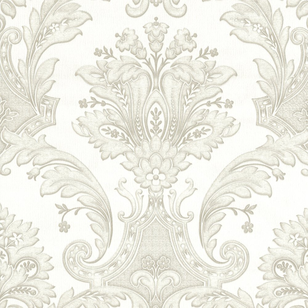 Decor Damasco Italiano Designer Feature Wallpaper White Silver eBay 1000x1000