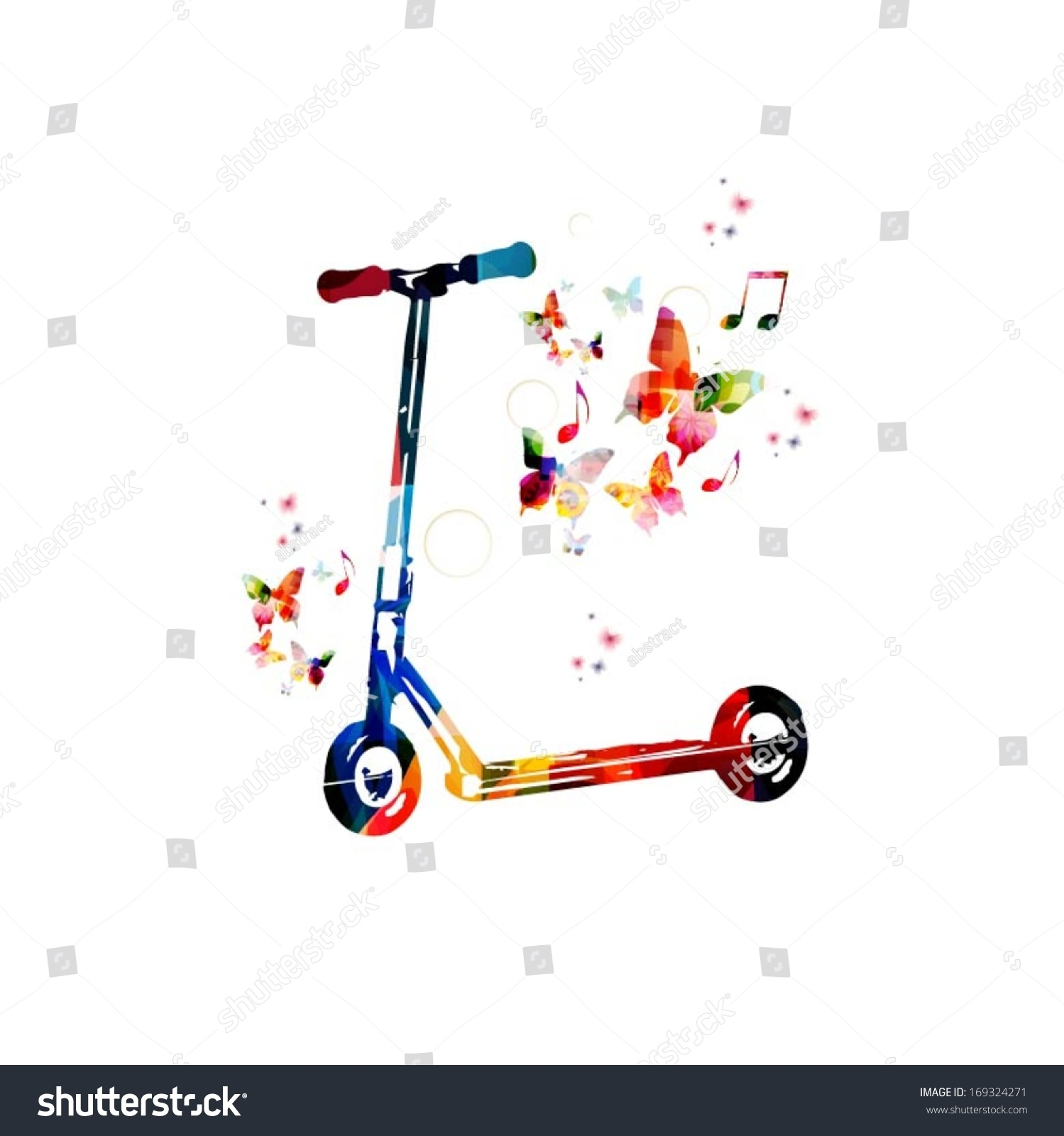 Colorful Vector Kick Scooter Background Butterflies Stock Vector 1499x1600