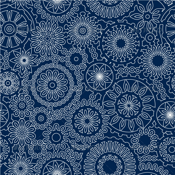 White Lace Flowers on Dark Blue Seamless Pattern   Patterns Decorative 590x590