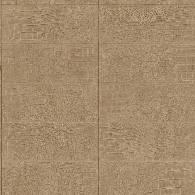 Contemporary Faux Leather Tan Soft Crocodile Wallpaper R3668 Double 640x640