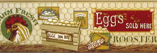 Eggs Rooster Wallpaper Border   Wallpaper Border Wallpaper inccom 525x180