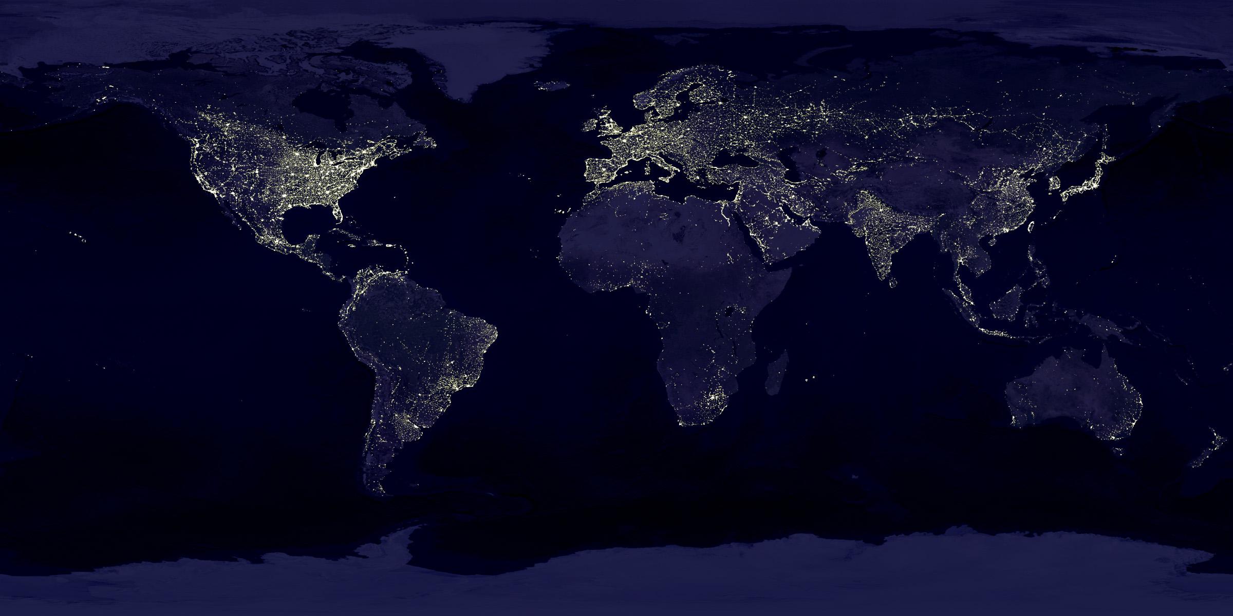 NASA Visible Earth Earths City Lights 2400x1200