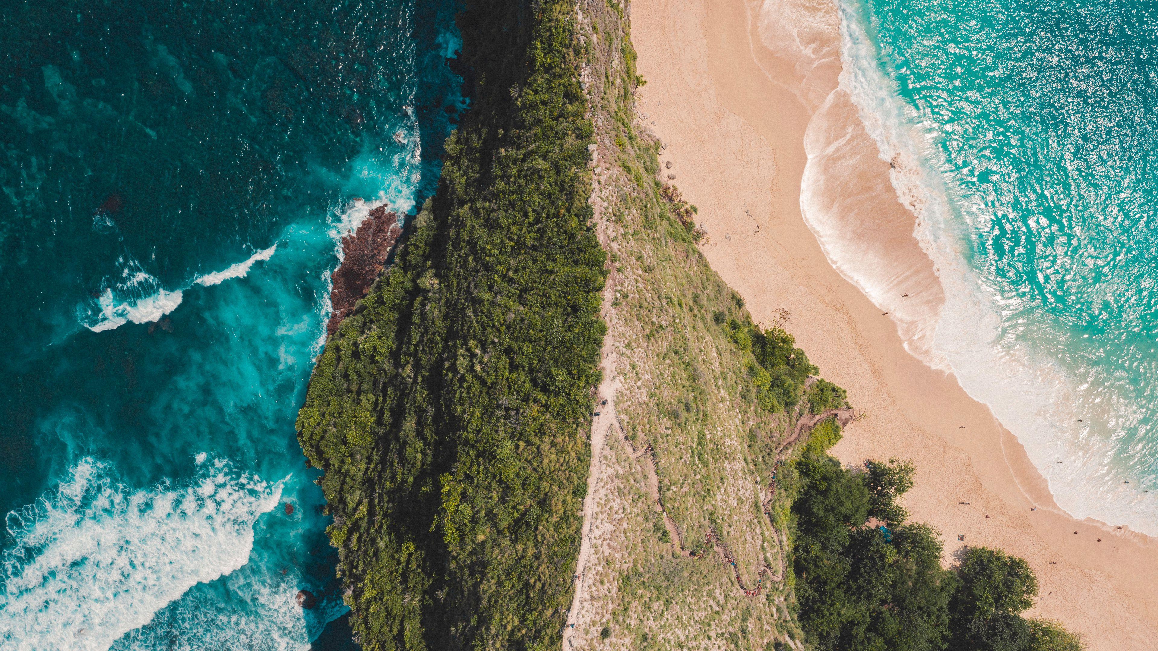 Download wallpaper 3840x2160 ocean island aerial view surf 3840x2160