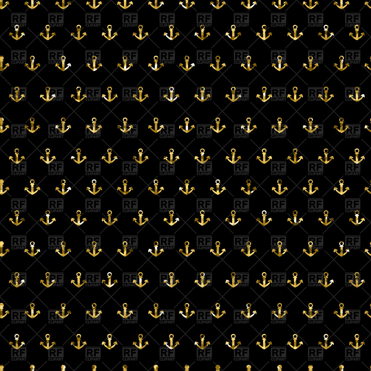 Seamless pattern with gold glitter anchors   Vector Stock Image of 1200x1200