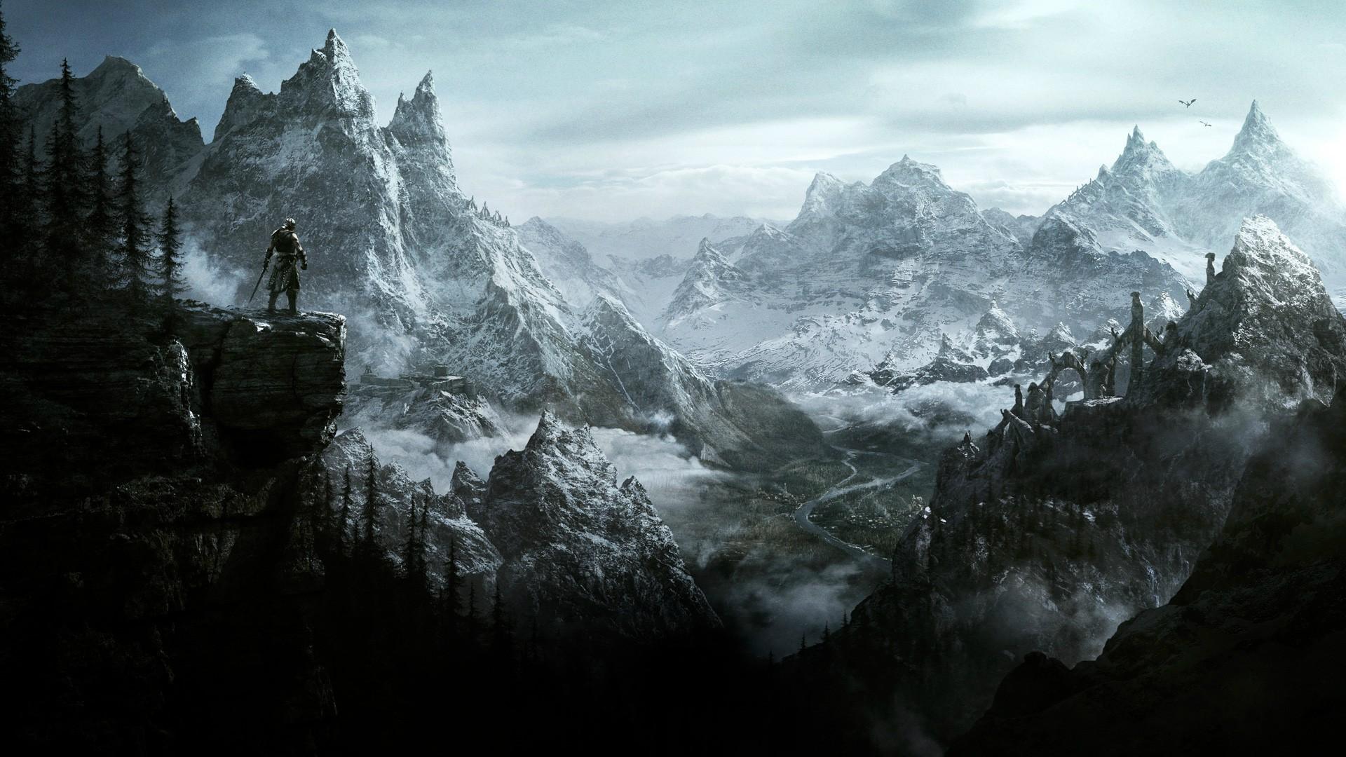 The Elder Scrolls V Skyrim Video Games Dovakhiin Mountain 1920x1080