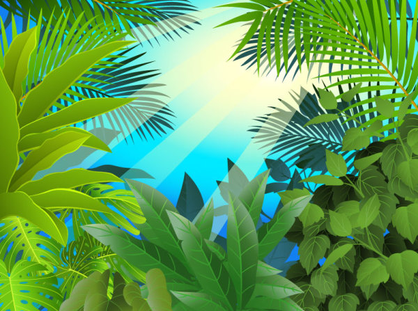 tropical Green leaf elements vector background 05   Vector Background 600x447