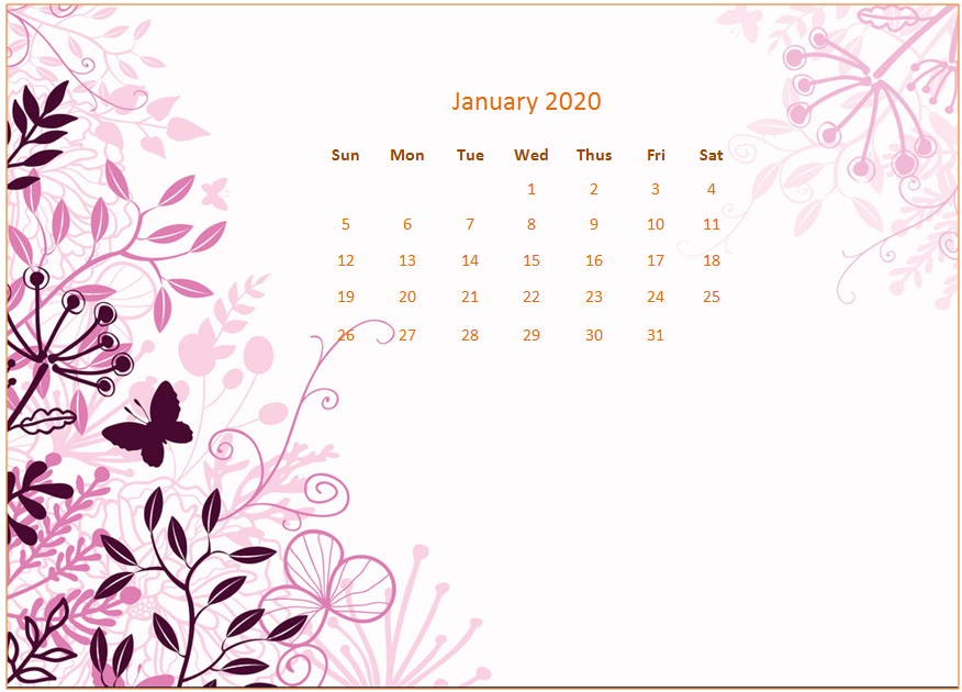 January 2020 Desktop Calendar Wallpaper January calendar 876x630