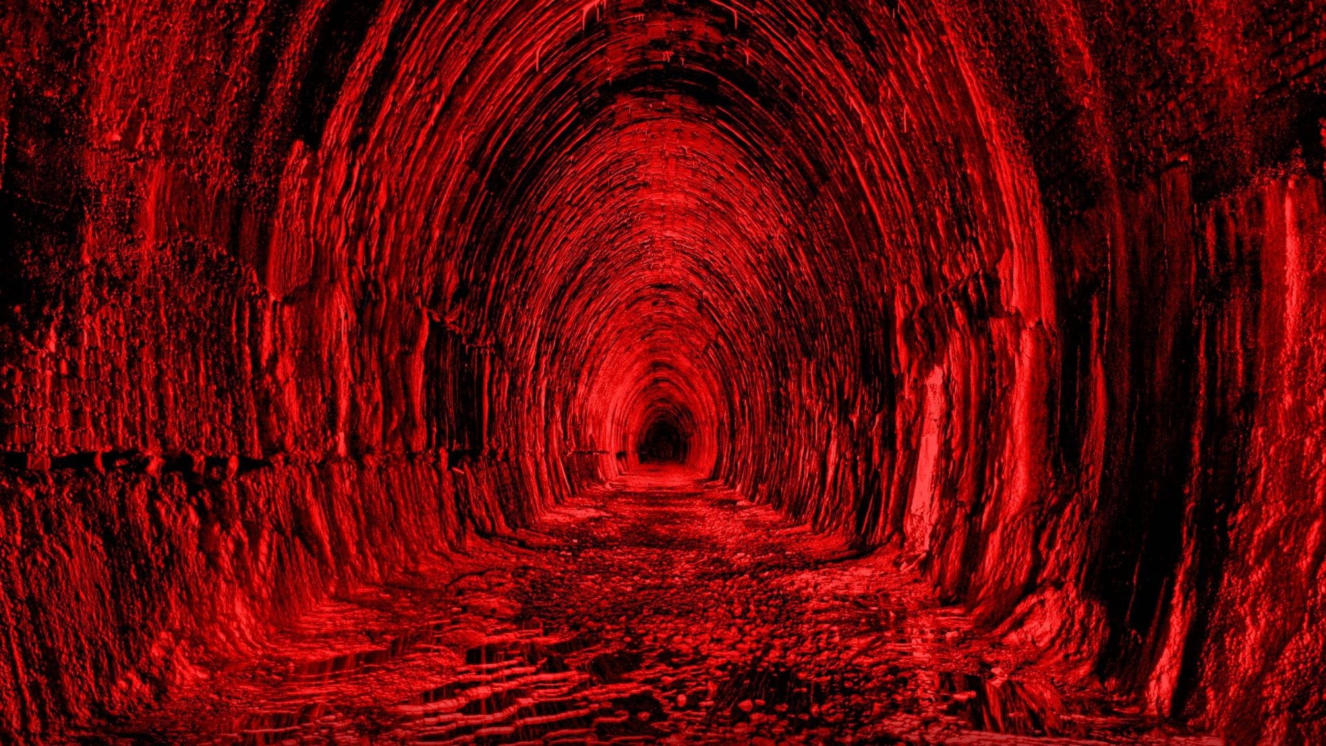 Download 1920x1080 Tunnel Red Black Light Wallpaper Background 1920x1080