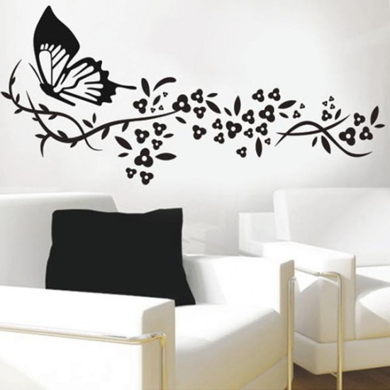 Butterfly Flower Vinyl Wall Art Decals Wall Stickers Vinyl Wall 550x550