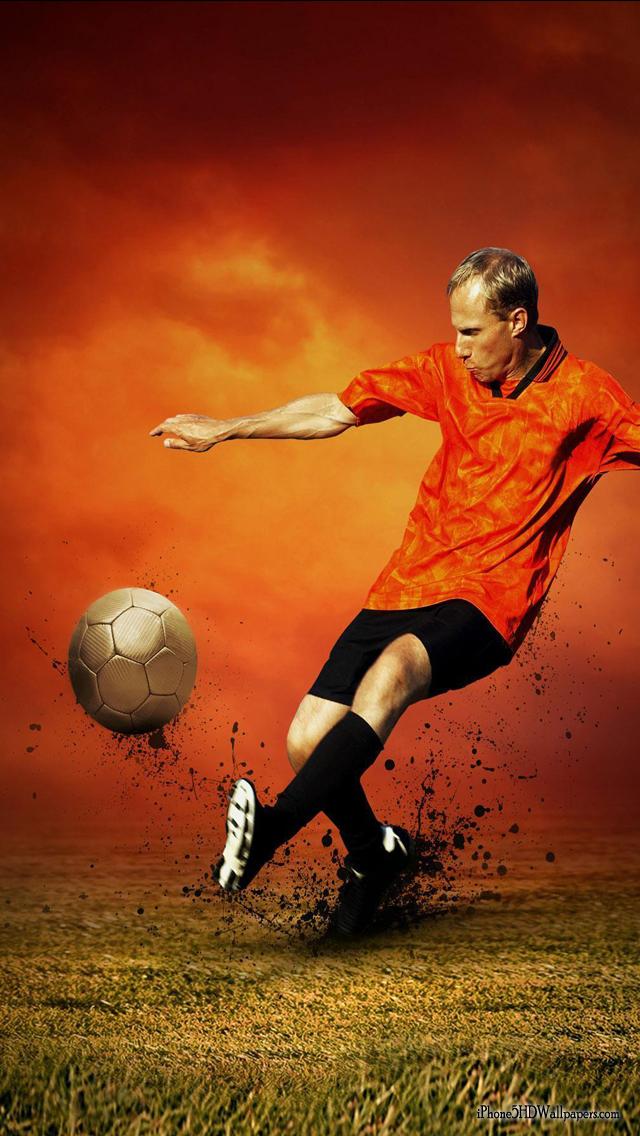iPhone 5 Wallpapers 640X1136 Orange Soccer Kick iPhone 5 HD 640x1136