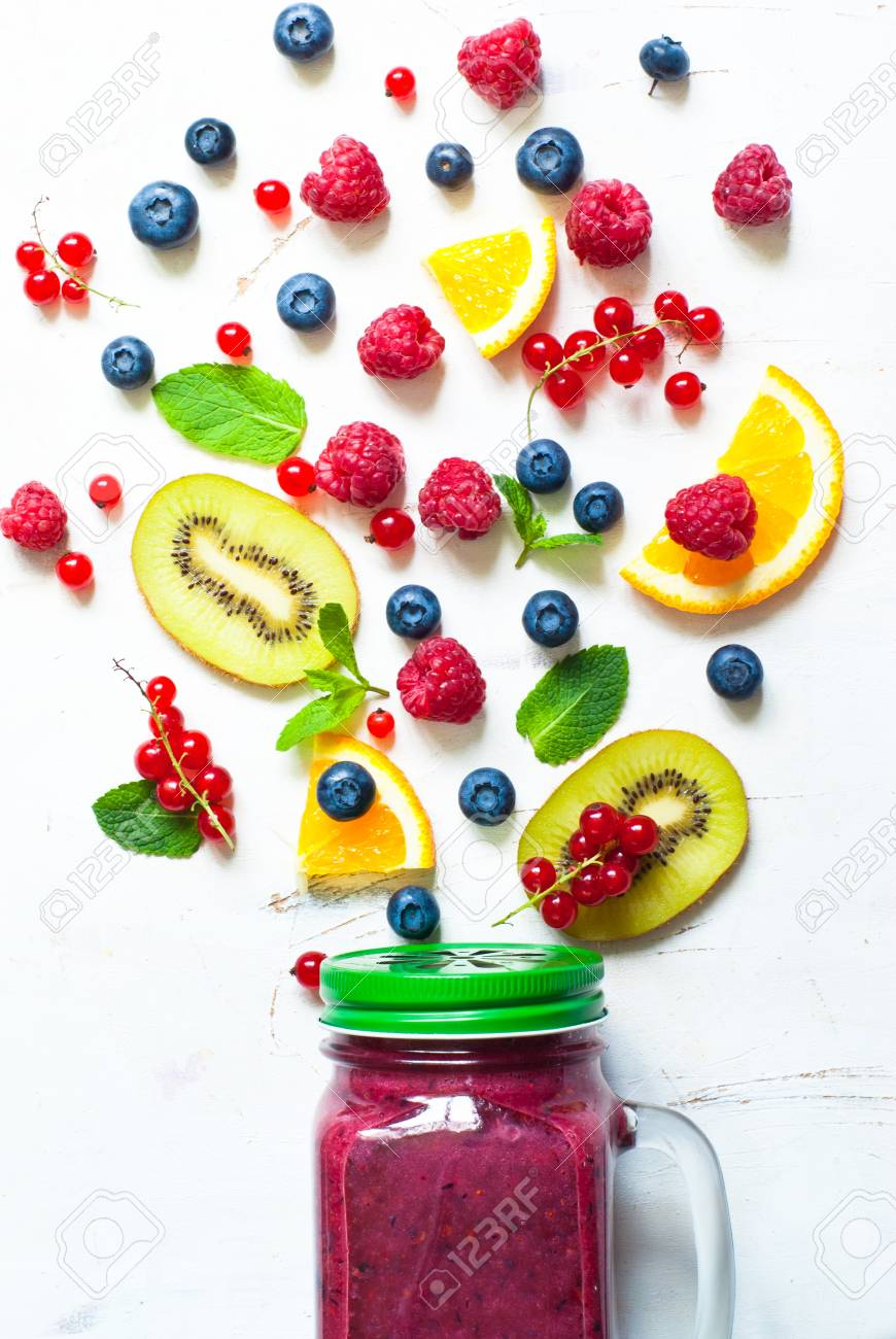 Fresh Summer Berries And Fruits On White Background Fruit 870x1300