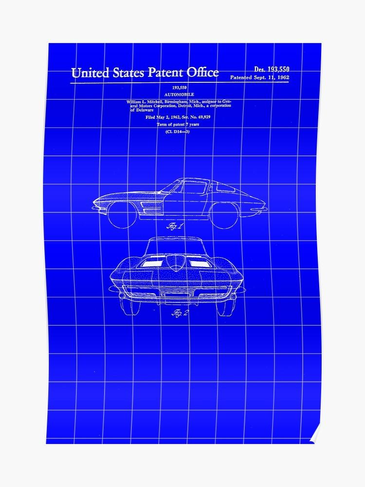 1962 Stingray Patent Print   Blueprint Background Poster by 750x1000