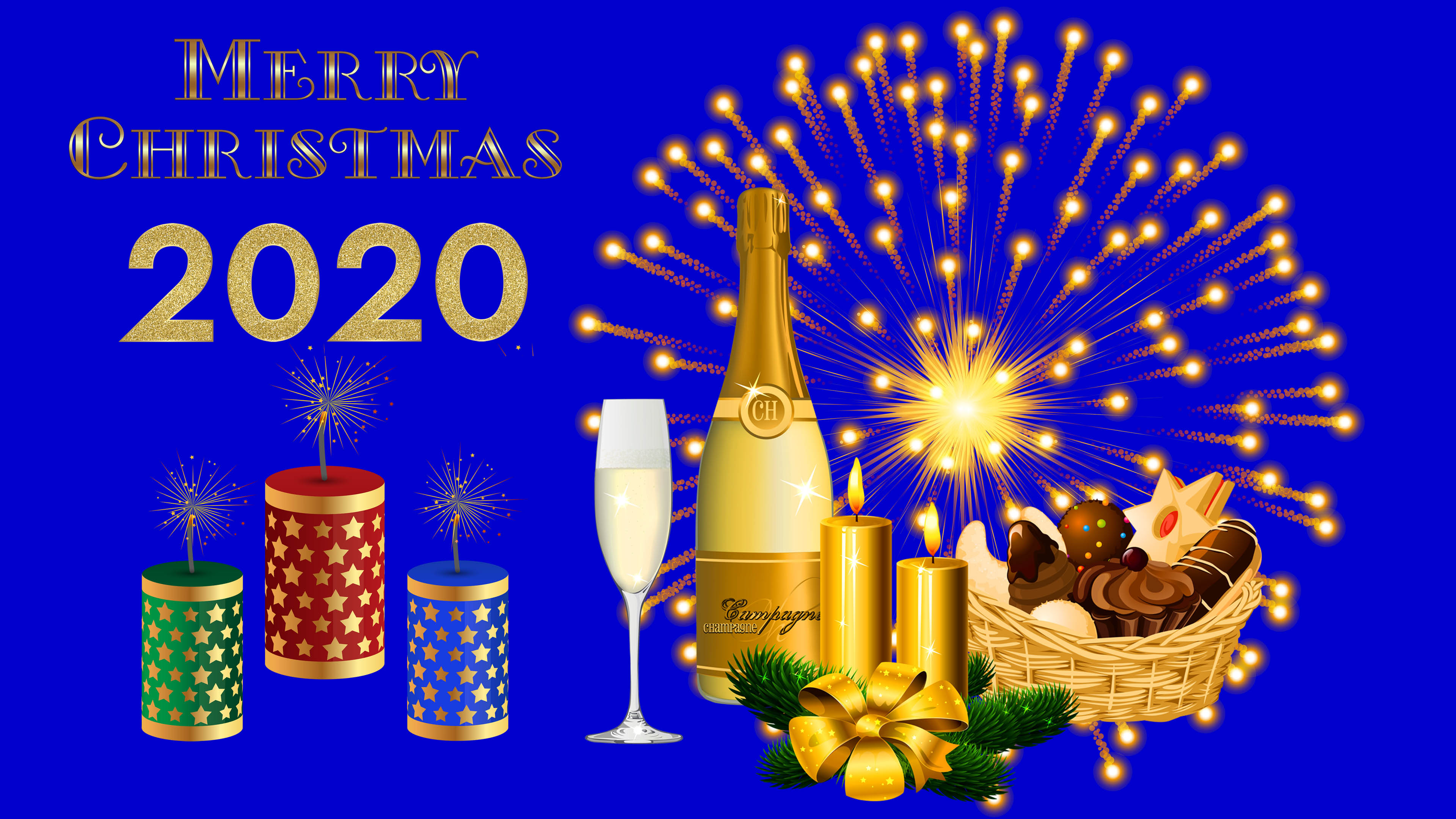 Merry Christmas And Happy New Year 2020 Gold Ultra Hd Wallpaper 3840x2160