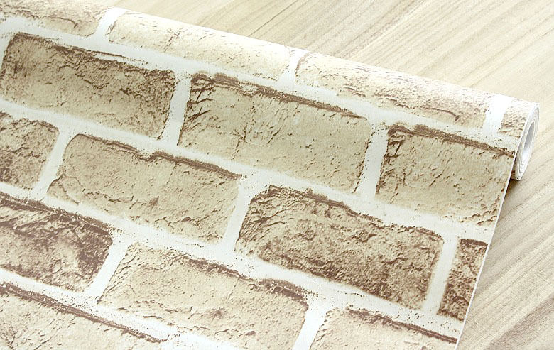 10m PVC Wallpaper Beige Brick Stone Prepasted Self adhesive Wallpaper 780x493