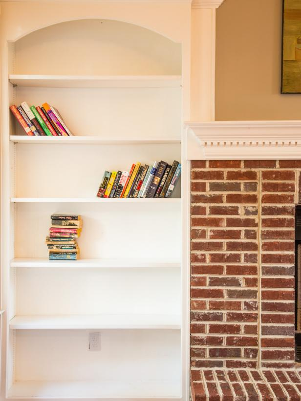 Add Graphic Pop to a Bookcase With Wallpaper HGTV 616x822