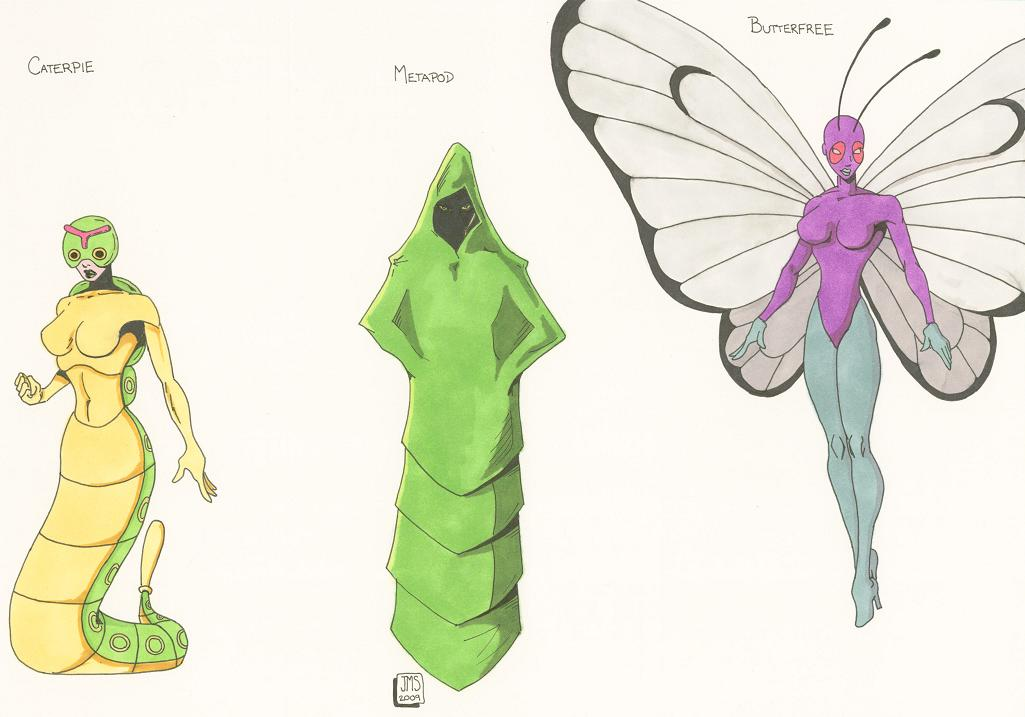 Caterpie Metapod Butterfree by jaycms 1025x717