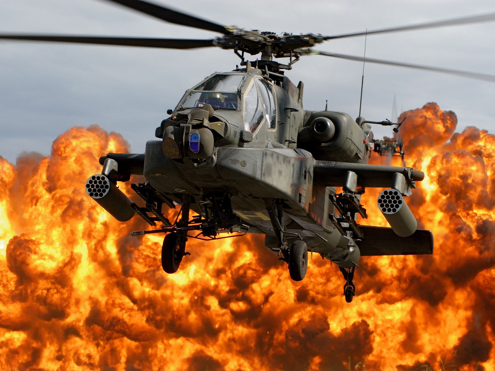 ah 64d apache wallpaper helicopter blade cab explosion fire 1600x1200