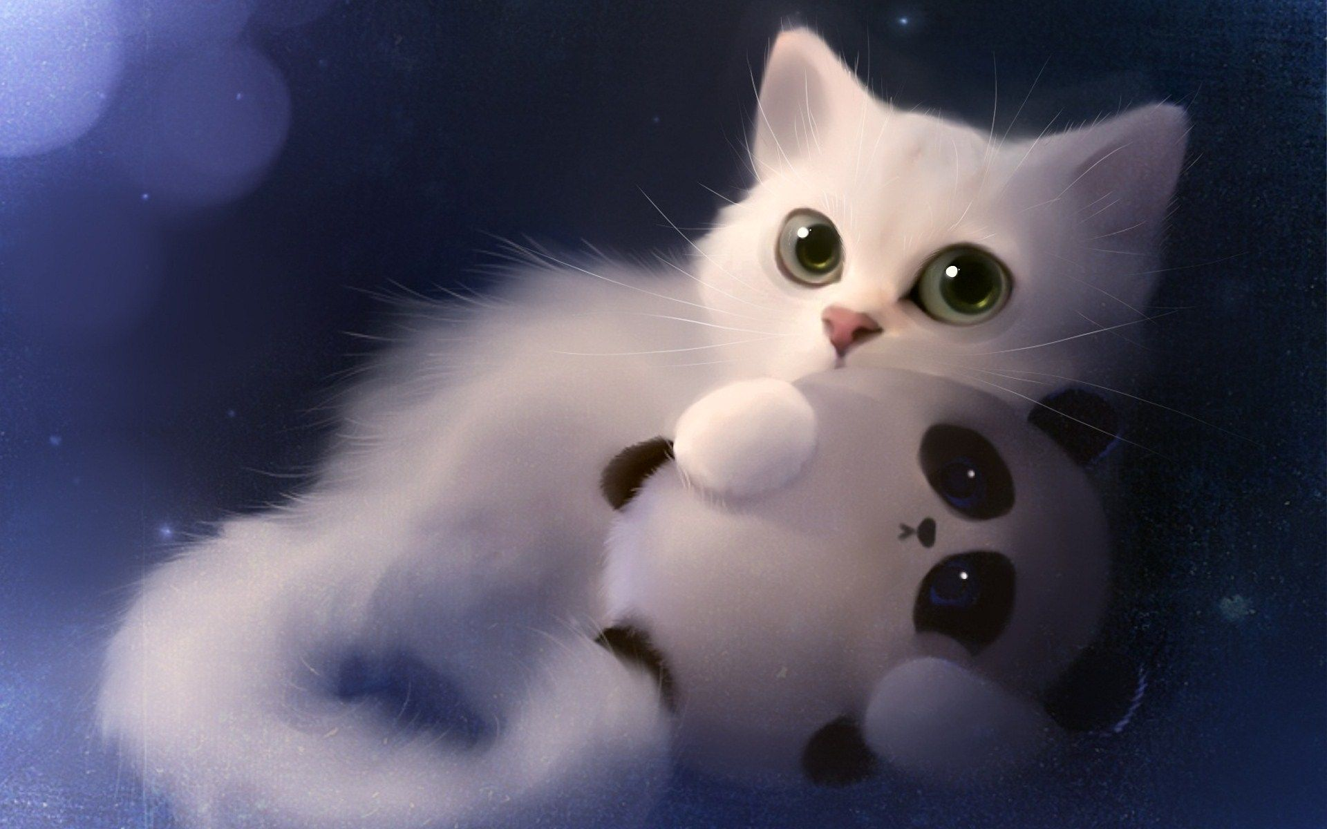 Cat Panda Cute Wallpaper Whimsie di 2019 Kucing Seni kucing 1920x1200