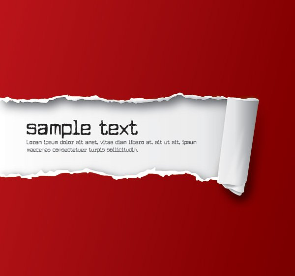 Ripped Paper Red Vector Graphic cardboard teared 600x562