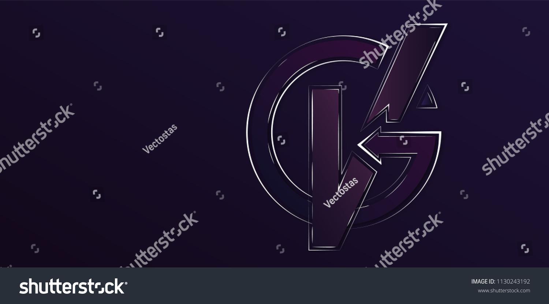 Vg Monogram Dark Wallpaper Background Stock Vector Royalty 1500x831