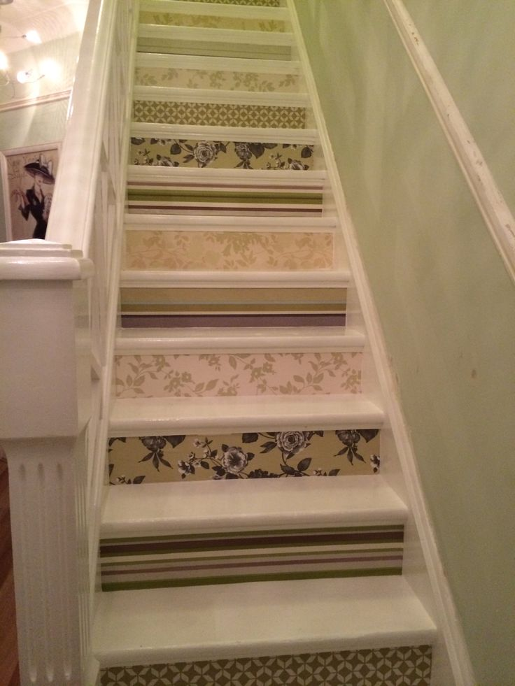 Wallpapered Stair Risers | Decorative Stair Risers | Pinterest