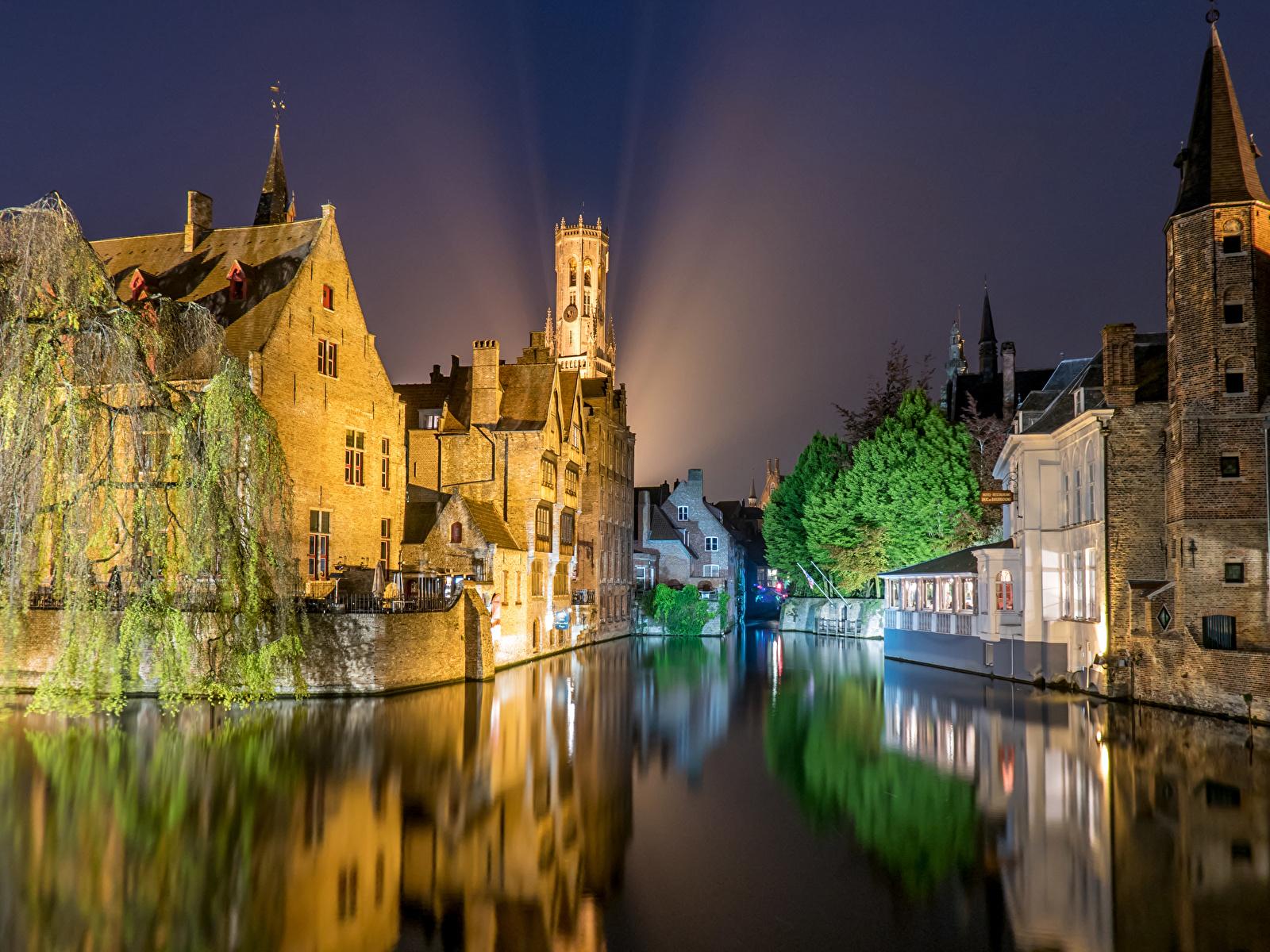 Wallpaper Belgium Brugge Night Rivers Cities Houses 1600x1200 1600x1200
