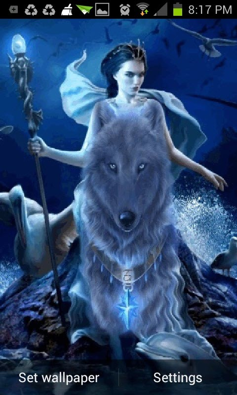 the Wolf Queen Live Wallpaper App to your Android phone or tablet 480x800